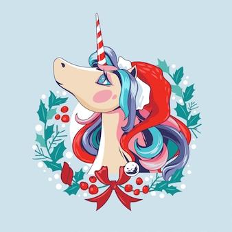 Illustrazione unicorno-santa carino sulla corona di natale