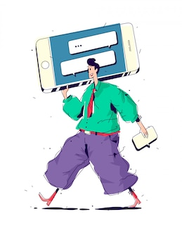 Illustrazione uomini con grande smartphone