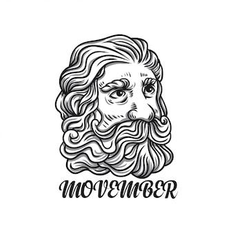 Illustrazione uomo movember