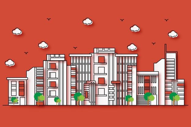 Illustrazione urbana con un bellissimo stile di carta