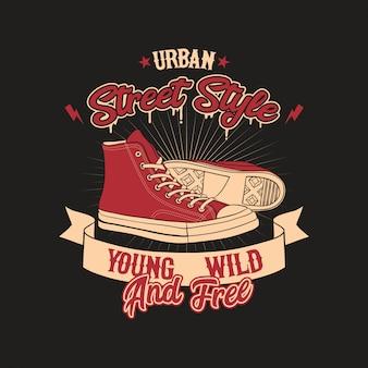 Illustrazione urbana del distintivo di stile delle scarpe