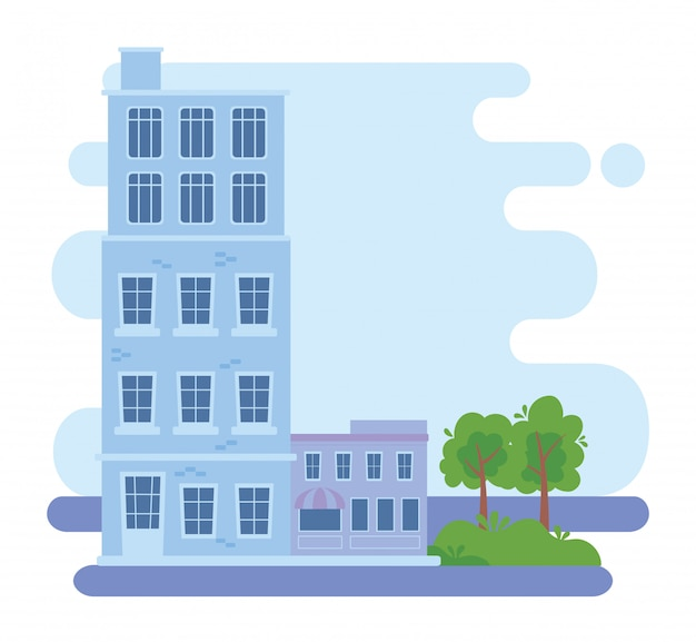 Illustrazione urbana di progettazione urbana degli alberi della via del mercato della costruzione