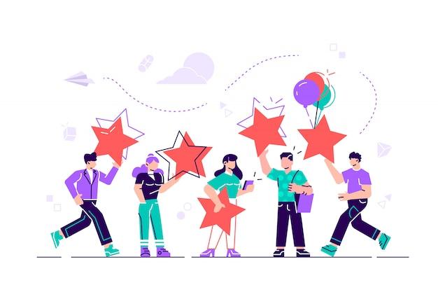 Illustrazione, valutazione delle recensioni dei clienti, diverse persone danno una valutazione e feedback delle recensioni, supporto per la soddisfazione aziendale. illustrazione di stile moderno design piatto per pagina web, carte.