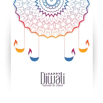 Illustrazione variopinta decorativa di diwali felice con il diya