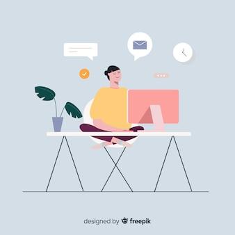 Illustrazione variopinta del programmatore che fa il suo lavoro