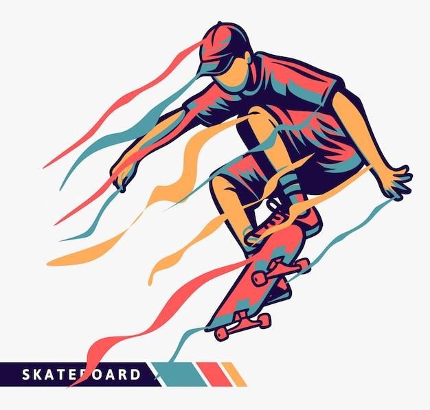 Illustrazione variopinta del skateboarder con effetto di movimento