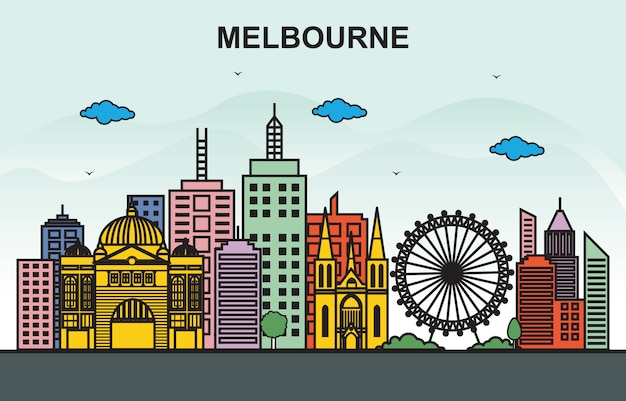 Illustrazione variopinta dell'orizzonte di paesaggio urbano di giro della città di barcellona