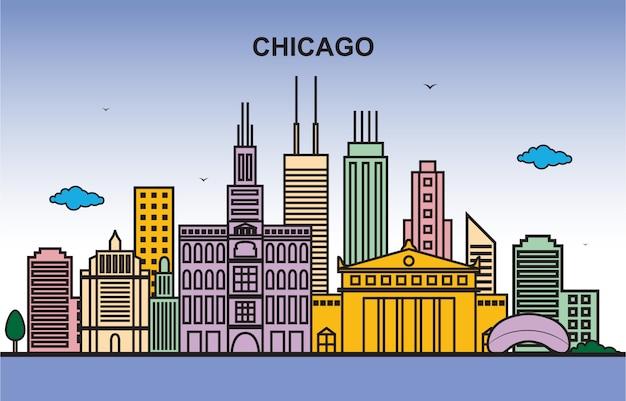 Illustrazione variopinta dell'orizzonte di paesaggio urbano di giro della città di chicago
