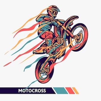 Illustrazione variopinta di motocross con linee di movimento