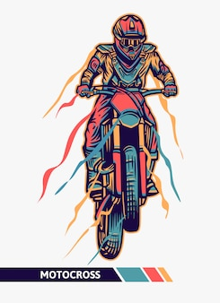 Illustrazione variopinta di motocross del materiale illustrativo