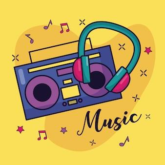 Illustrazione variopinta di musica delle cuffie e di boombox