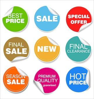 Illustrazione variopinta di progettazione dei distintivi e degli autoadesivi di vendita