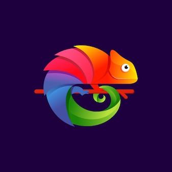 Illustrazione variopinta di progettazione di logo del camaleonte