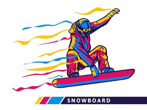 Illustrazione variopinta di sport dello snowboard con movimento dello snowboarder