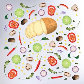 Illustrazione variopinta di vettore del fondo dell'alimento crudo del modello