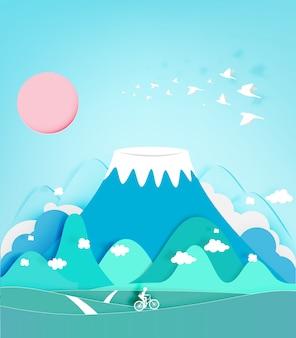 Illustrazione variopinta di vettore del fondo di stile del taglio della carta della montagna di fuji