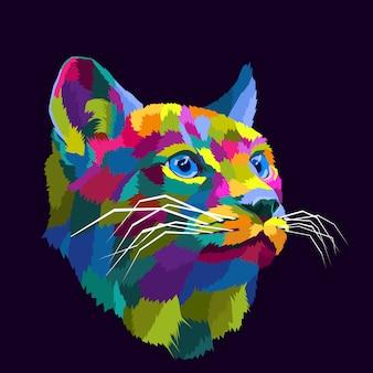 Illustrazione variopinta di vettore del ritratto di pop art del gatto