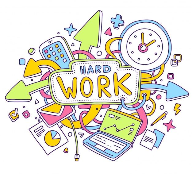 Illustrazione variopinta di vettore di oggetti per ufficio con testo su sfondo bianco. concetto di duro lavoro.