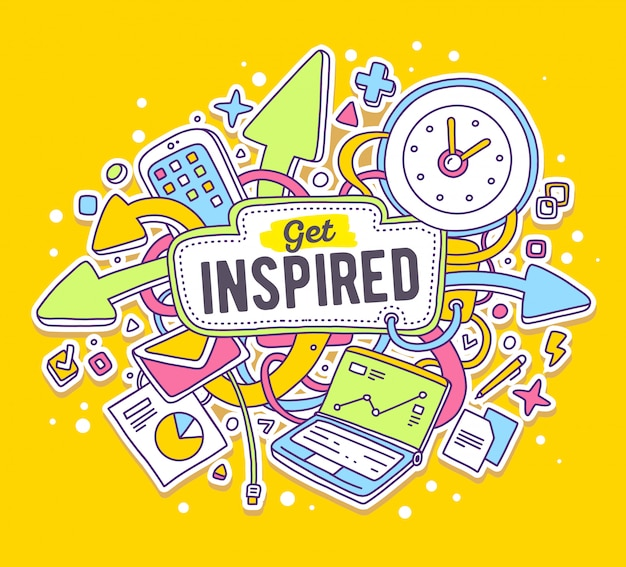 Illustrazione variopinta di vettore di oggetti per ufficio con testo su sfondo giallo. ottieni un concetto ispirato.