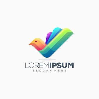 Illustrazione variopinta di vettore di progettazione di logo dell'uccello