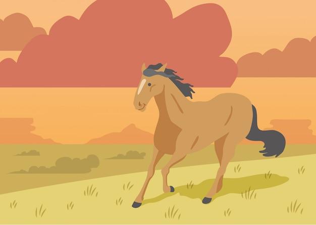 Illustrazione variopinta di vettore di un cavallo del mustang che corre liberamente su uno sfondo naturale di una pianura su un tramonto nuvoloso