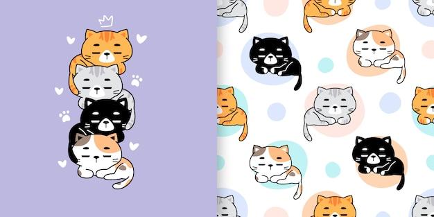 Illustrazione variopinta disegnata a mano sveglia dei gatti e modello senza cuciture