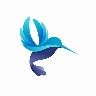 Illustrazione variopinta moderna di logo del colibrì