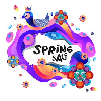 Illustrazione variopinta variopinta dell'insegna di sconto di vendita della primavera