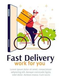 Illustrazione veloce del fumetto dell'insegna di servizi di ordine online e di consegna.