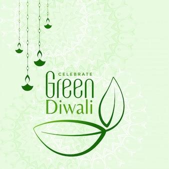 Illustrazione verde amichevole di concetto di diwali di eco