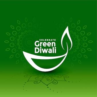 Illustrazione verde creativa di concetto di diya di diwali