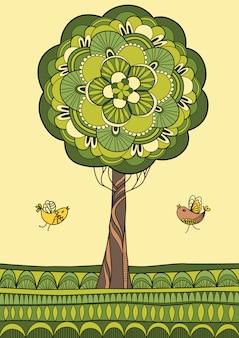 Illustrazione verde degli uccelli e dell'albero