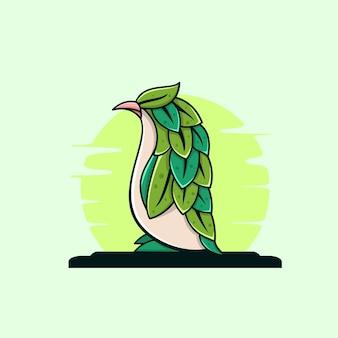 Illustrazione verde dei fogli del pinguino