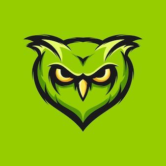 Illustrazione verde di vettore di progettazione della testa del gufo