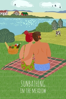 Illustrazione verticale con un ragazzo e una ragazza, prendere il sole sulla natura