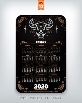Illustrazione verticale di concetto di stile di colore nero della disposizione di dimensione della tasca del calendario dello zodiaco dell'acquario di anno