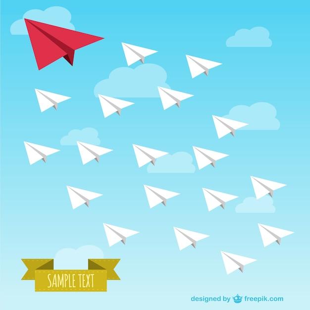 Illustrazione vettoriale aeroplani di carta libera