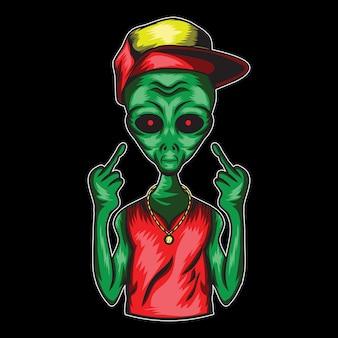 Illustrazione vettoriale aliena per logo camicia e mascotte