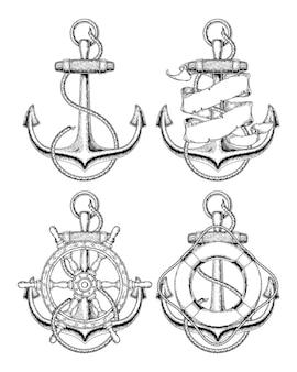 Illustrazione vettoriale ancoraggio nautico