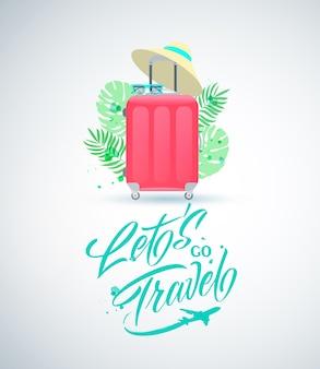 Illustrazione vettoriale andiamo viaggia lettere scritte a mano con valigia rossa.