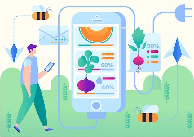 Illustrazione vettoriale applicazione mobile smart farm.