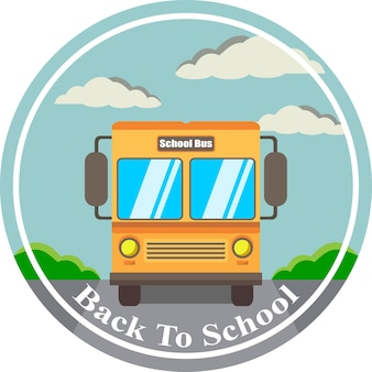 Illustrazione vettoriale bentornato a scuola sul bus