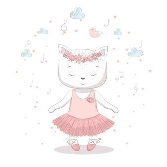 Illustrazione vettoriale carino con gatto bambino