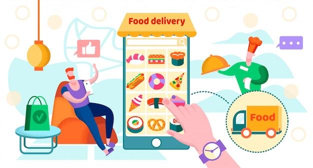 Illustrazione vettoriale cibo consegna di iscrizione.