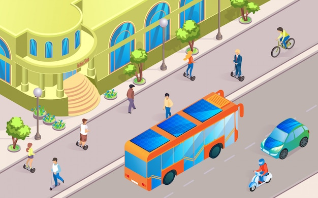 Illustrazione vettoriale città futura street view piatta.