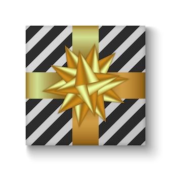 Illustrazione vettoriale colorato di scatola regalo vacanza decorata con nastro e fiocco