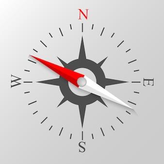 Illustrazione vettoriale colorato di visualizzazione della bussola di navigazione