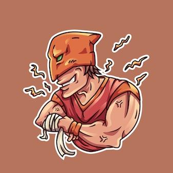 Illustrazione vettoriale combattente mascherato