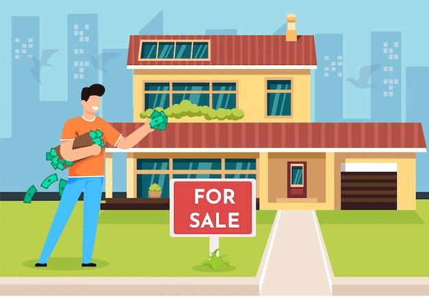 Illustrazione vettoriale comprando proprietà cartoon flat.