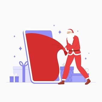 Illustrazione vettoriale con babbo natale che tira un grande sacco rosso di doni dal telefono.
